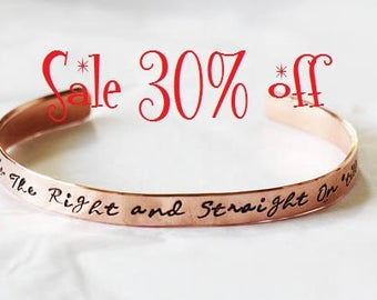 SALE 30% off - Second Star to the Right and straight on 'til morning  Peter Pan Cuff Bracelet Hand Stamped Bracelet | Tinkerbell Jewelry