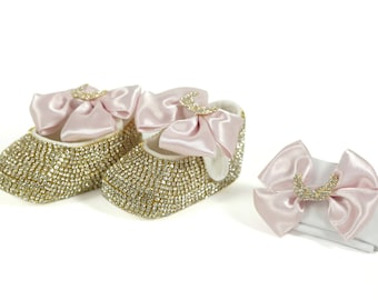 Handmade Rhinestone Pink Bow Baby Shoes and Hairband / Pink Baby Shoes / Baby Girl Shoes / Pink Baby Girl Shoes / Fashionista Baby Shoes