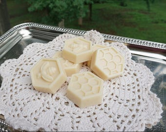 10 Handmade Honey and Goats Milk Soap Wedding Favors,Bridal Shower Favors, Honey Bee and Honey Comb Hexagonal Soap Favors