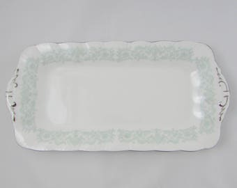 "Paragon ""Melanie"" Rectangular Serving Tray, Sandwich Tray, Serving Dish, Vintage Bone China, Silver Trim"