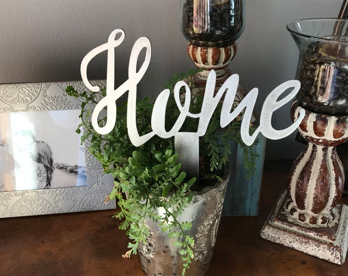 HOME pick, Home Metal Sign, Small Home Script Sign, Farmhouse Decor, Fixer Upper style, Rustic Decor, Calligraphy, Stocking stuffer, Gift