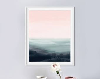 Abstract Landscape Painting, Instant Download Art, Abstract Painting, Pink and Green Art, Dan Hobday, 16x20 Print Bedroom Art, Landscape art