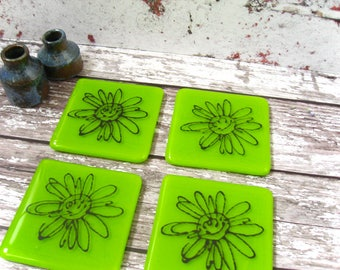 Spring green fused glass coaster daisy design,bar drinks coaster,hostess gift, CO429, Summer green, long cocktail beer mat, house warming