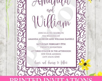 SALE Custom PRINTED Eggplant Twirly Elegant Wedding Invitations - .99 each with envelopes included