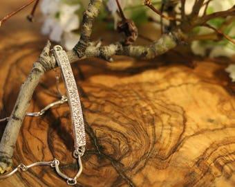 Rhinestone Bracelet, Wedding Jewelry, Bridesmaid Jewelry, Birthday Gift, Sterling Silver, Anniversary Gift