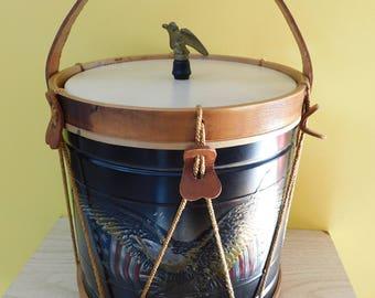 1960s Icebucket Noble and Cooley Old Drum Shop Civil War Drum Replica Drum Ice Bucket Americana Ice Bucket