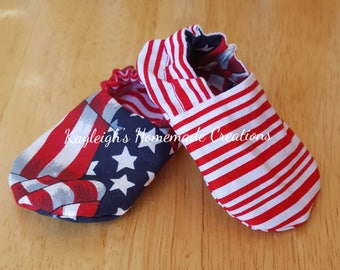 Reversible Baby Shoes American Flag and Red & White Stripes, Booties, Soft Sole, Slippers, Crib Shoes