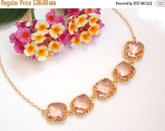 SALE Wedding Jewelry, Peach Bracelet, Blush Bracelet, Champagne, Gold filled Bracelet, Bridesmaid Gifts, Bridesmaid Bracelet, Gifts, Bride G
