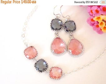 SALE Bridesmaid Jewelry, Coral and Grey Earrings and Bracelet Set, Gray Coral, Grapefruit, Charcoal, Sterling Silver, Dangle, Bracelet Set,