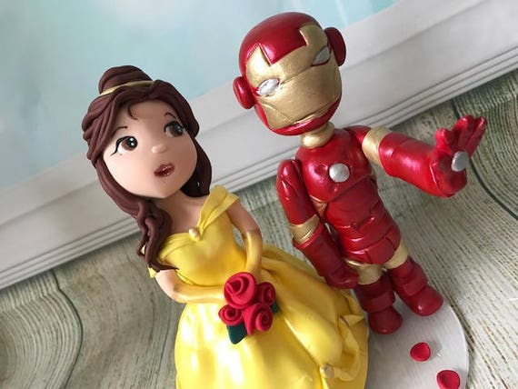 Fully personalised clay Wedding Cake Topper highly detailed Iron man/Superhero Keepsake - Bespoke Premium Service
