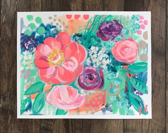 Neon Mint Floral- Giclee Print