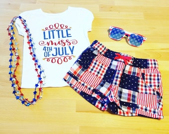 Little Miss 4th of July Shirt // Red White and Blue Shirt // Girls Patriotic Shirt // Military Shirt // Independence Day Shirt