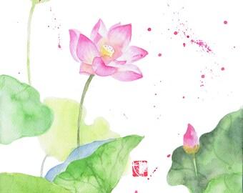 Watercolor Flower Painting Print, Flower Art, Lotus Painting Print, Flower Wall Art