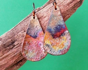 Handmade Copper Earrings - Teardrop Shape