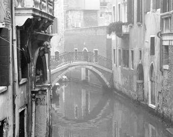 Venice Photography, Black and White, Canal, Fine Art Print, Travel, Italy, Europe, Wall Art, Architecture, water, fog