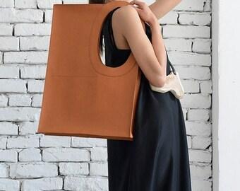 SALE Brown Large Maxi Bag/Extravagant Square Tote/ Shoulder Brown Bag/Fashion Must Have Clutch/Comfortable Handbag/Casual Everyday Bag