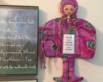 Spiritual Fiber art doll, One of a kind original doll, OOAK, cloth art doll, stuffed doll, Boho doll, Collectible, Wise Messenger  #7