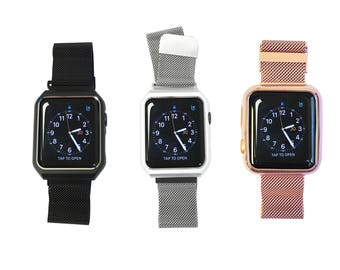 Mesh Apple Watch Band Replacement Strap - Apple Watch Face Cover and Band All-in-One in Silver, Rose Gold or Black Mesh, Both 38mm 42mm Face