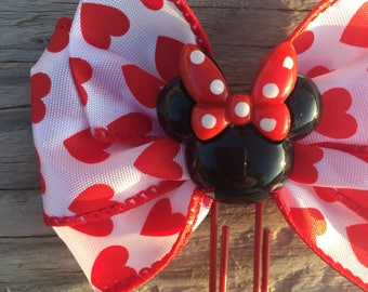 Valentine's Day Minnie Mouse Disney Planner Bow Clip