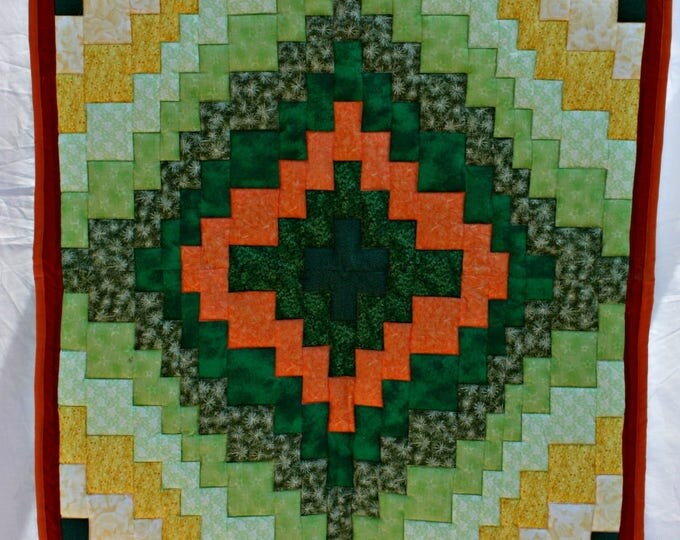 Featured listing image: Handmade Green Gold Bargello Quilt, Lap Quilt, Sofa Throw, Patchwork Quilt, Lap Blanket, Round the World Quilt