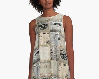 Read All About It! A-Line Swing Dress Newspaper Newsprint  Trapeze Dress XS S M L XL 2XL  Red Blue White  Woman Teen Wearable Art Clothing