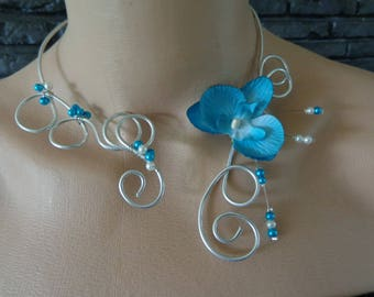 Orchid Necklace blue beads white and blue available now, wedding