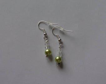 beads green crystal wedding earrings