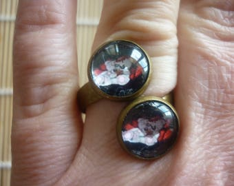 Ring bronze double cabochons.