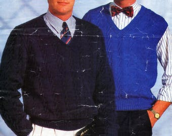 """mens cable sweater and slipover knitting pattern pdf mens v neck jumper and pullover 36-44"""" DK light worsted 8ply pdf instant download"""