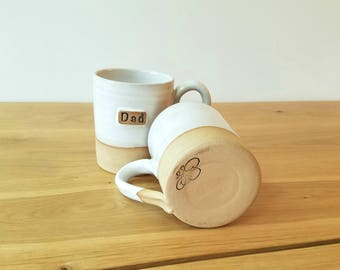 Farmhouse Collection:  Personalized mug set, Mom Dad, wedding anniversary gift, brown clay and white glaze.