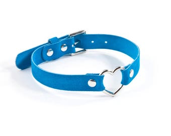 Suede heart Ring Collar - Teal