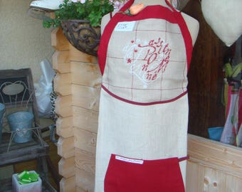APRON EMBROIDERED LINEN BIB WAS PASSIONATELY MADNESS