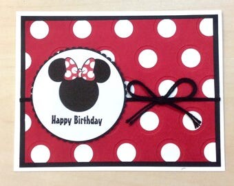 Disney Minnie Mouse inspired birthday greeting card