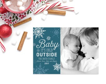 Christmas Photo Card, 5x7 Digital File Only, Baby It's Cold Outside