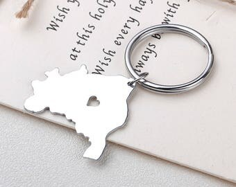I heart Brazil keychain - Brazil keyring - Map Jewelry - Country Charm - Map keychain