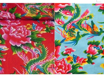 cotton fabric Chinese Peony red blue clear clothing