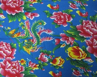 fabric 3 m Peony Chinese traditional blue