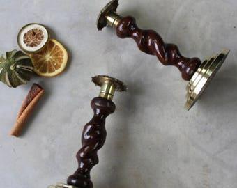 Pair Oak & Brass Barley Twist Candlesticks.