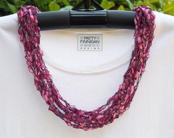 Crochet Ladder Yarn Necklace, Peony Pink