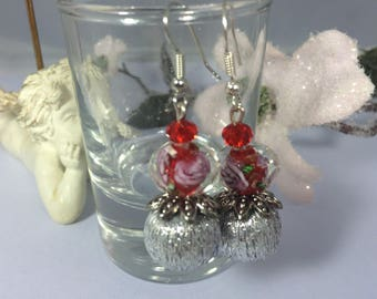 Earrings ' ear romantic Christmas beaded silver balls of glass