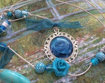 romantic set leather and turquoise beads