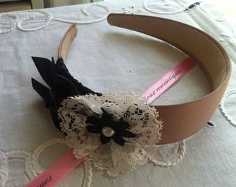 "romantic headband ""Ashley"" nude color and bow lace"