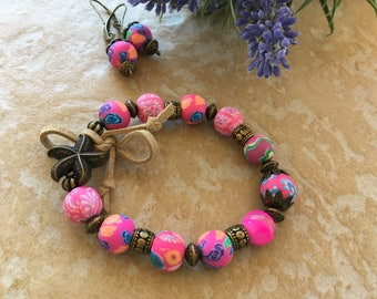 ethnic romantic set hot pink flower beads