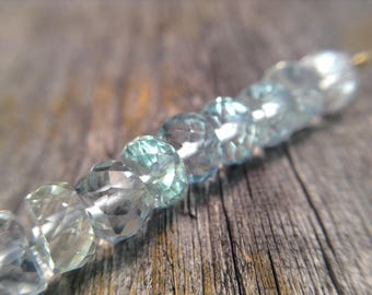 5mm Faceted Aquamarine beads