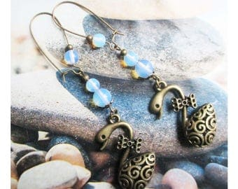 "Ethnic earrings ""big Swan 3D carved and the opal beads"" on bronze metal"