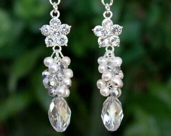 Bridal Cluster Earrings.White Pearl.Swarovski Crystal.Jeweled.Dangle.Silver.Statement.Chandelier.Wedding.Bridal.Long Earrings.Handmade.