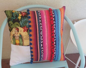Mexican Style Throw Pillow Scatter Cushion Frida Kahlo Summer Tropical Colorful Desert Modern Patchwork Kustom Gift Colourful Bright Styling