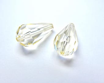 2 GLASS PALE YELLOW DROPS NACKLACE WITH 10/20 MM