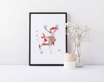 Dart - A4 Geometric Deer Stag Limited Edition Art Print