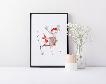 Dart - A4 Geometric Deer Stag Limited Edition Art Print